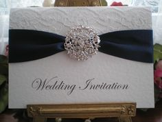 R0018c Lace Navy Blue Wedding Invitation Diamante Cluster Available from www.vintagelaceweddingcards.co.uk