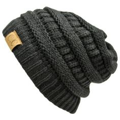 Amazon.com: Black Thick Slouchy Knit Oversized Beanie Cap Hat: Clothing, even if it's for a guy I still love it and would totally wear this.