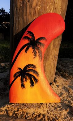 Surf Decor Painted Surfboard Fin Hand Carved Wood Sunset Palm Tree Silhouette…
