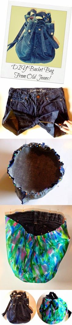 DIY Jeans Bucket Bag -- 13 Ideas to Recycle Old Jeans into Useful Things : abcdiy Diy Jeans, Jean Crafts, Denim Crafts, Mochila Jeans, Jean Purses, Denim Ideas, Old Clothes, Denim Bag, Diy Clothing