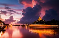Leading Lines: A slow shutter image of the Kuching Waterfront located in Sarawak, Malaysia.