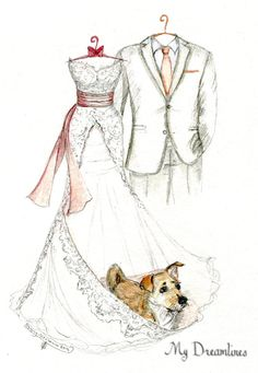 1 Year Wedding Anniversary Gift From Maid Of Honor : Wedding Dress Sketch, bride gift ideas, bride gift from maid of honor ...