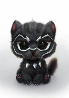 Black Panther as a cute Kitty Cute Animal Drawings, Cute Drawings, Kawaii Drawings, Cute Baby Animals, Funny Animals, Anime Animals, Cartoon Cartoon, Black Panther Marvel, Black Panther Cat