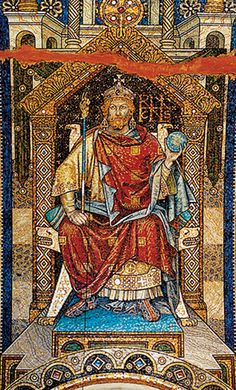 Berlin's Top 10 : Kaiser-Wilhelm-Gedächtnis-Kirche - Kaiser's Mosaic    One of the mosaics that have been preserved depicts Emperor Heinrich I on his throne, with imperial orb and sceptre. Originally decorated throughout with scenes from German imperial history, the church interior was meant to place the Hohenzollerns within this tradition. German Royal Family, Berlin, Epic Of Gilgamesh, Kaiser Wilhelm, Church Interior, Royal House, Prussia, Sacred Art, Kirchen