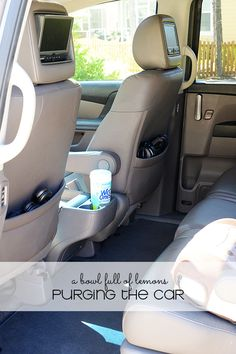 Purging the Car via A Bowl Full of Lemons 31 Day Purge Series. See how keeping a clutter-free car can make trips and errands less stressful.