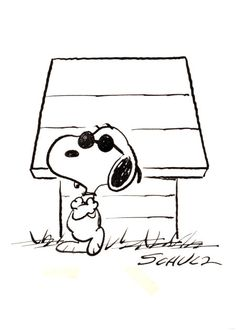 """Charles Schulz #Snoopy as """"Joe Cool"""" Peanuts Illustration Original Art (1970s). Charles Schulz's beloved Redwood Empire Ice Arena was home to a number of specialty #Snoopy drawings, created expressly for use or display by the arena. Here's a great one of Snoopy in his """"Joe Cool"""" shades, leaning against his doghouse."""