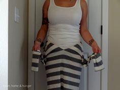 la transformación de una camisa de manga larga en una falda