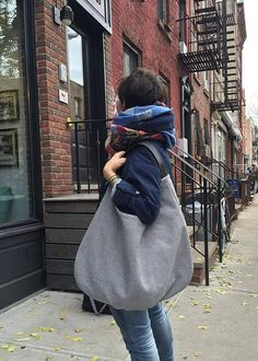 Large hobo canvas and Leather Bag, grey shoulder bag, large handbag, carry bag, xxl shoulder hobo, packable bag, leather handle, gift for Mom