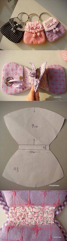 Миниатюрная сумочка-несессер...♥ Deniz ♥ Sewing Hacks, Sewing Tutorials, Sewing Projects, Fabric Doll Pattern, Fabric Dolls, Doll Clothes Patterns, Sewing Patterns, Kids Coats, Clothing Hacks
