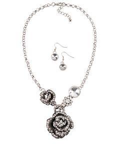Bling Rose Necklace Set