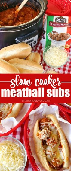Slow Cooker Meatball Subs - this tasty & hearty dish is easy to make in the crock pot without heating up the whole house! Slow Cooker Meatball Subs - this tasty & hearty dish is easy to make in the crock pot without heating up the whole house! Crock Pot Food, Crock Pot Slow Cooker, Slow Cooker Recipes, Beef Recipes, Cooking Recipes, Healthy Recipes, Easy Crockpot Recipes, Crockpot Meals, Shrimp Recipes