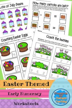 Easter themed early numeracy math  worksheets.  Great for Pre-k and Kindergarten. Worksheets focus on counting, identifying numbers,  basic addition and subtraction.  Also some word problems included. #Easter #worksheets #math #numeracy #treasuresforthema