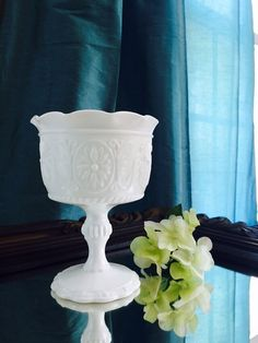 Milk Glass Compote Pedestal White Milk Glass Indiana Glass Decor by FelixVintageMarket