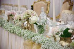 Wedding top table garland of gypsophila