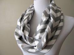 Storm Gray Chevron Infinity Scarf  Zig Zag Scarf  by JerseyScarves, $25.00