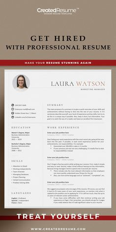Creative and professional resume template that will help to get the job of your dreams faster! Easy to customize on Word and Apple Pages. Designed by an experienced CreatedResume team these resume templates will catch an eye and help you outstand from the others. #resume #resumetemplate #modernresume #resumeformat #resumedesign #resumetips #createdresume #cv #cvtemplatepeople Cover Letter Template, Letter Templates, Resume Templates, Modern Cv Template, Curriculum Vitae Template, Executive Resume, Microsoft Word 2007, Good Resume Examples, Modern Resume