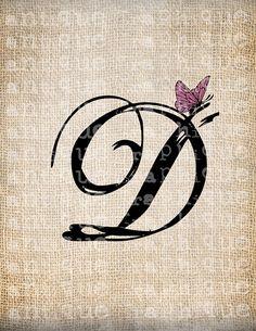 Antigua carta D guión monograma con por AntiqueGraphiqueAged