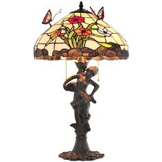 Tiffany Style Butterfly and Daffodil Pattern Stained Glass Chandelier ($188) ❤ liked on Polyvore featuring home, lighting, ceiling lights, tiffany style hanging lamps, butterfly stained glass, tiffany style lamps, tiffany style hanging lights and tiffany style ceiling lights