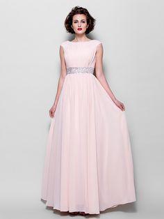 Lanting uma linha mais tamanhos / mãe petite do vestido de noiva - Pearl até o chão-de-rosa de manga curta chiffon - USD $89.99