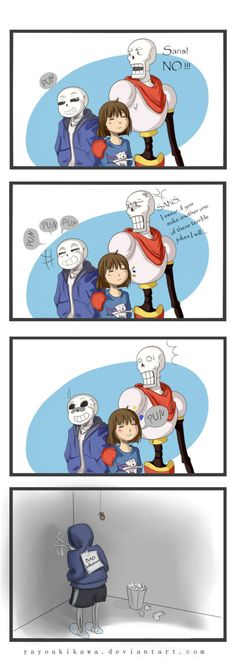 Corner of shame for Sans... co-starring Trashy. Feel free to visit it any time, guys Sans, Frisk and Papyrus belong to Undertale by Toby Fox.