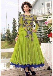Marvelous Evening Party Wear Parrot and Blue Designer Gown