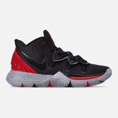 Right view of Men's Nike Kyrie 5 Basketball Shoes in University Red/Black Kyrie 5, Nike Kyrie, Basketball Sneakers, Sneakers Nike, Latest Sneakers, Sneaker Release, Black Nikes, Red Black, Reebok