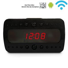 Spy Camera P2P Wifi Hidden Camera Clock HD 1080P Motion Activated Spy clock Auido Video Recording Nanny camera Night vision Support IOS Android APP ControlBlack ** See this great product.(It is Amazon affiliate link) #dc