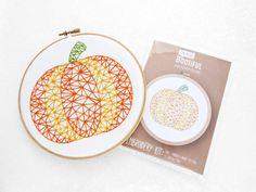 Pumpkin Embroidery Pattern, Halloween Fabric Embroidery Pattern, Thanks Giving Needlework Pattern, Beginner Embroidery, Halloween Hoop Art.