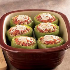 Italian+Stuffed+Bell+Peppers+-+The+Pampered+Chef® deep covered baker Italian+Stuffed+Bell+Peppers+-+The+Pampered+Chef® deep covered baker The Pampered Chef, Pampered Chef Recipes, Baker Recipes, Cooking Recipes, Cooking Pasta, Camping Cooking, Cooking Bacon, Cooking Videos, Italian Recipes