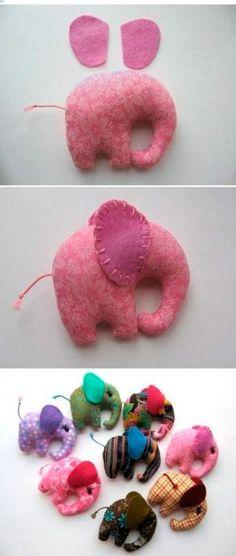 Manualidades de tela para bebés móvil elefantes