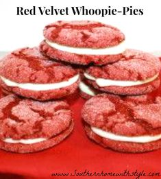 Red Velvet Cookies twisted into Whoopie Pies! Simple and Easy! Kids can help too!