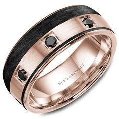 A Bleu Royale rose gold wedding band with 8 round black diamonds and black carbon accents. Crownring - Designer Wedding Ring For Men Unique Wedding Bands, Wedding Men, Diamond Wedding Bands, Wedding Rings, Gold Wedding, Luxury Wedding, Wedding Cakes, Wedding Ideas, Wedding Bells