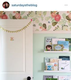 Love this floral wallpaper paired with the mint paint