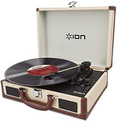 ION Audio Vinyl Motion Deluxe Portable Briefcase Style Turntable with Built-in Stereo Speakers, Rechargeable Battery and USB Conversion - Cream Best Vinyl Record Player, Record Players, Vinyl Records, Built In Speakers, Stereo Speakers, Audio, Usb, Belt Drive, Vintage Records