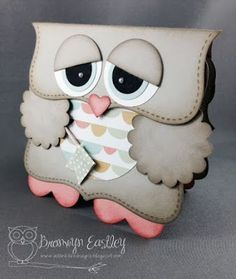 Owl birthday card with pattern and step by step instruction how to make it