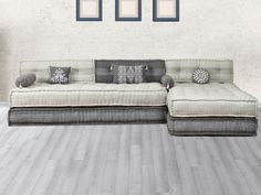 Canapé modulable en tissu CHASE - Gris clair et anthracite Sofa Design, Furniture Design, Interior Design, Sofas Vintage, 1 Bedroom Flat, Floor Seating, Living Room Tv, Home Office, Lounge