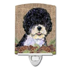 Portuguese Water Dog on Faux Burlap with Pine Cones Ceramic Night Light SS4081CNL