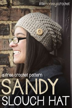 Sandy Slouch Hat Crochet Pattern | Slouchy Crochet Hat Pattern by Little Monkeys Crochet