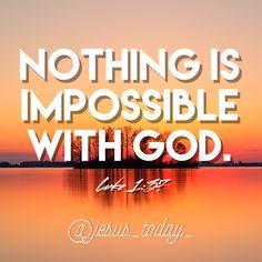 Luke 1:37 #jesus #bible #biblejournaling #jesuslovesyou Luke 1 37, Jesus Today, Jesus Bible, Jesus Freak, Jesus Loves You, Christian Quotes, Me Quotes, God, Heavens