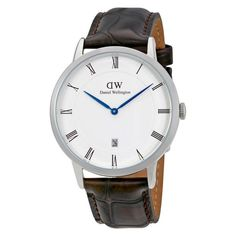 Dapper York Silver 38mm Men's Watch Daniel Wellington Watch, Dapper, Omega Watch, Watches For Men, Brown Leather, Quartz, Unisex, York, Bijoux