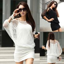 Black/White Women Hollow Sexy Dress Summer Casual Party Size M L Batwing Sleeve Mini Dress Cute Casual Dresses, Trendy Dresses, Dresses Uk, Dress Casual, Fashion Dresses, Set Fashion, Fashion Wear, Mini Dress With Sleeves, Body Con Skirt