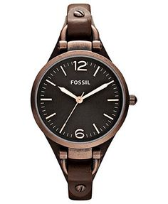 Fossil Watch, Women's Georgia Brown Leather Strap 32mm ES3200