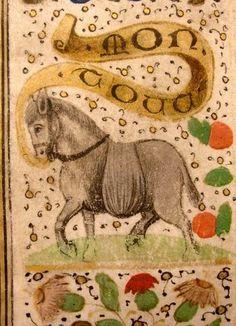 """MON TOUT -- Emblème (âne chargé) et devise (""""Mon tout"""") de Philippe de Horn. -- Antwerpen, Musée Plantin-Moretus, 035 (anc. 101), (M. 15-6), ca 1470-1488. -- Voir aussi ici : http://bibale.irht.cnrs.fr/source/27"""