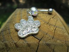rhinestone paw print  belly button rings belly jewelry by sindys