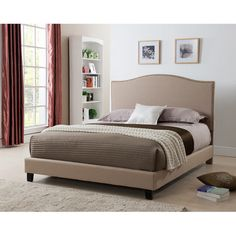 United Laurence Platform Bed with Nail-head Headboard (€340) ❤ liked on Polyvore featuring home, furniture, beds, brown, california king bed headboard, california king headboard, california king size headboard, california king bed platform and king size headboard