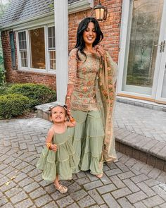 So excited for my cousin's wedding festivities this week! 💚 Not only is it the first family wedding since mine 6 years ago, it's my first ever! ✨ iya & I wore these adorbs outfits last night 🧡:orange_hear Mom Daughter Matching Outfits, Mommy Daughter Dresses, Mom And Baby Dresses, Mother Daughter Fashion, Baby Girl Dress Patterns, Stylish Dresses For Girls, Mom Dress, Dresses Kids Girl, Pakistani Outfits