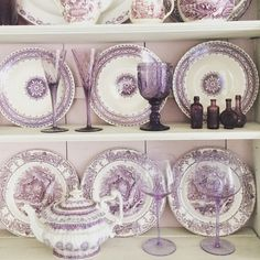 Add colored glassware to a collection of vintage plates that color coordinate for decorator style. Colored glassware is incredibly chic these days, and you can mix and match styles if you can't find a whole set, keeping it the same color. Look for an amazing array of local and imported European glassware at HomeGoods. Sponsored pin.
