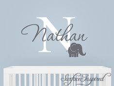 Elephant Name Monogram Wall Decal Monogram Wall Decal With - Personalized wall decals for nursery
