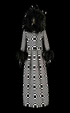 Roberto Capucci 1965   Homage to Vasarely Dress, woven silk satin ribbons and ostrich feathers (N.268).  Photography by Claudia Primangeli