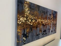 Peinture abstraite de feuille dor | Etsy Feuille D'or, Gold Leaf, Canvas Size, Leaves, Curtains, Abstract, Prints, Painting, Etsy